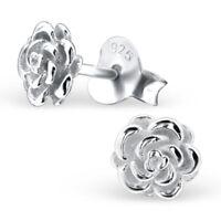 925 Sterling Silver Rose Stud Earrings (Design 4)