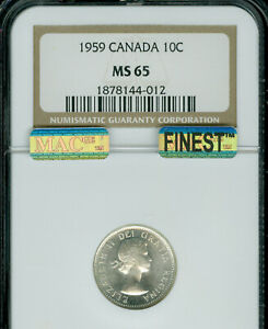 1959 CANADA 10 CENTS NGC MS-65 MAC FINEST REGISTRY MAC SPOTLESS  *