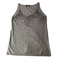 Eileen Fisher Long Tank Top Gray Sequin Embellishments Medium Cashmere Blend