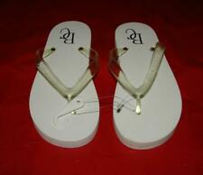 """Beverly Clark Collection Women's Flip Flops """"Just Married"""" Sz Small White/Clear"""