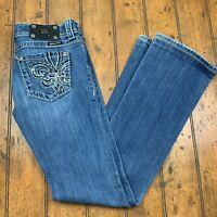 Miss Me Womens Boot Cut Jeans Size 26 Blue Thick Stitch Fleur De Lis JP518184