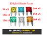 30 x Assorted Automotive Mini Blade Fuses Set 5, 10, 15, 20, 25, 30 Amp Car Bike