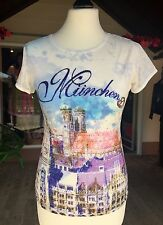 Trachten Shirt, München, Gr L, Zur Lederhose, Jeans, weiß Breze, Strass hellblau