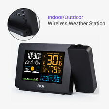Fanju Wireless Weather Station Sensor Thermometer Projector LCD Barometer Time