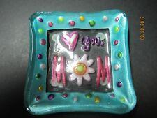 """""""Love You Mom"""" decorative plate, small, 4 1/4"""" square glass,"""