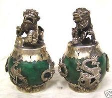 Tibet Silver old jade carving Figures Dragon Phoenix lion foo dog statue