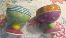 Department 56 Sandra Magsamen Pr/2 Pastel Ceramic Ice Cream Dessert Bowls! Vhtf!
