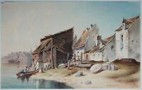 Monogrammist 1862: Stadt am Fluß Aquarell Fischerboote mit Personen Niederrhein