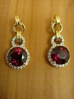 Estate 14K YG 5 CT TW RHODOLITE GARNET and DIAMOND Dangle Post Pierced Earrings