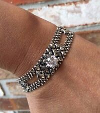 NEW AUTHENTIC Liquid Metal Sergio Gutierrez Silver Crystal Bracelet RTB6