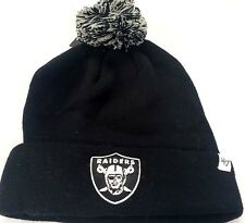 NEW! 47 Brand NFL Oakland Raiders Knit Cuffed POM Breakaway Beanie Skull Cap