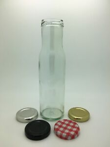 250ml Round Glass Sauce Bottles - Dressings, Oil, Relishes, Ketchup - 43mm lids