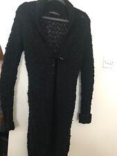 Black Long Chunky Cable Knit Cardigan Coatigan Small
