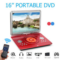 16'' Portable DVD Player Car HD CD TV Player 16:9 LCD Swivel Screen