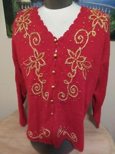 Ugly Christmas Sweater XL EUC Kathie Lee Button Up