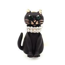 Betsey Johnson Black Enamel Crystal Cute Cat kitten Charm Animal Brooch Pin Gift