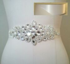 Clear Rhinestone Wedding Bridal Dress Sash Belt = WHITE satin sash