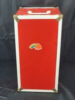 Vintage RED Metal Steamer Trunk Wardrobe Closet Storage Doll Case Drawer 16x8x8