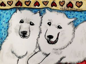 "SAMOYED ACEO PRINT Mini Dog Folk Pop Art Card 2.5 X 3.5 KSAMS ""Furever Friends"""