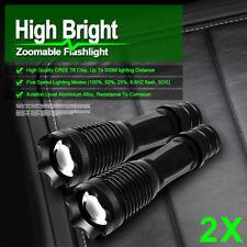 Torch T6 8000LM 2PCS Bright Super Camping Police Flashlight Light Hunt CREE