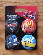 DISNEY PIXAR NASCAR WINCRAFT RACING CARS 3 ROUND PIN BACK BUTTONS 4 PACK NEW