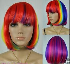 Multi-Color Mixed Rainbow Lolita wig Curly short Anime Cosplay wigs