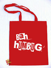 Bah Humbug Scrooge Xmas odio NATALE Scontroso GIT cotton TOTE shopping Bag a libro