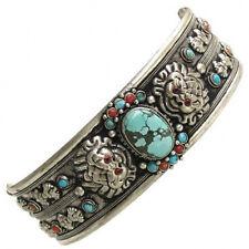 Dorje Dragon Amulet Cuff Bracelet Giant Tibetan Turquoise Red Coral Gemstone