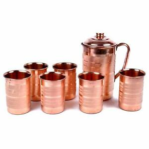 Copper Jug - 2000 ml and 6 Glass Sets (400 ml each)