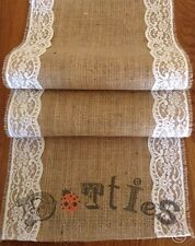 36ft Lovely Handmade Rustic Hessian And Lace Table Runner
