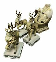 OFAK Large White and Gold Santa on Swan Sleigh and 3 Reindeers Christmas Decor