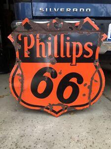 Original 1949 Double Sided Porcelain Phillips 66 Gas Oil Sign Station Pump