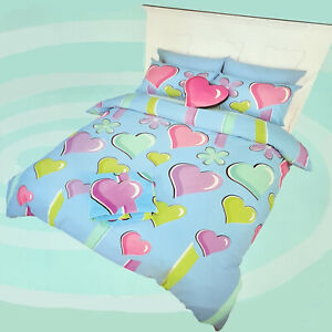 Lipstick Love Me Not Blue Queen Bed Quilt Cover Set. Love Hearts
