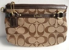 Coach Gallery Signature C Fabric Patent Leather Trim Clutch Khaki Mahogany 48299