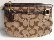 Coach Wristlet Clutch Gallery Signature C Fabric Patent Leather Trim 48299