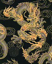 BLACK FIRE-BREATHING DRAGONS: Japanese Asian Oriental Quilt Fabric: BTY