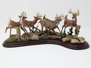 RARE! Danbury Mint Running Bucks Whitetail Deer Sculpture Curtis Christensen