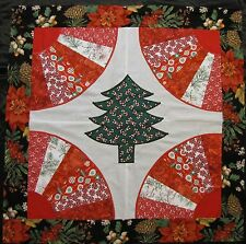 "Appliqued Fan Quilt Top~PIECED~PATCHWORK~""Christmas Tree 1""~Baby,Wall, Lap 35"""