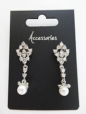 Beautiful Long Diamante Dangle Earrings with Faux Pearl Perfect for Prom Bridal
