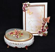 """Papillon résine cristal fleurs-boîte à bijoux & cadre photo 4""""x6"""" ensemble cadeau"""
