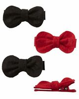 New Carter's 4 Pack Hair Clips Hair Accessory NWT Red and Black Bow Clip Barette