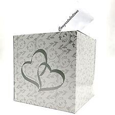 Wedding Double Heart Money Gift Box Wishing Well Reception Box 2 Silver Hearts