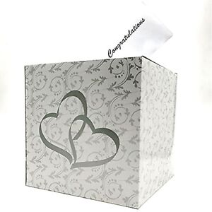 Wedding Double Heart Money Gift Box Wishing Well Reception Box 2 Silver Hearts