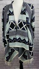 Sisters Anthropologie Cardigan Poncho Size S/M Blue Southwestern Aztec Fringe