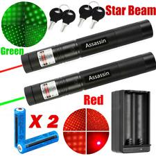 2x Ultra Bright 900 Miles Green+Red Laser Pointer Pen Star Beam 18650 Torch+Char