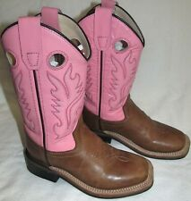 Old West Brown Youth Girls Tubbies Leather Cowboy Western Boots