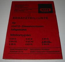 Ersatzteilliste Hatz Diesel Motor E 80 / 85 / 89 / G / FG / FL luftgekühlt 1969