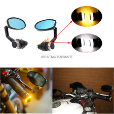 "MOTORCYCLE 7/8"" HANDLEBAR BAR END MIRRORS INDICATOR TURN SIGNALS BIKE CHOPPER"