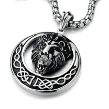 30 Inches Steel Ball Chain New Stainless Steel Biker Lion Pendant Necklace with