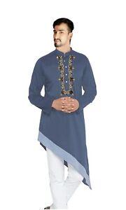 Indian Wedding Wear Men's Shirt Embroidered Kurta Trail Cut Tunic Grey Color